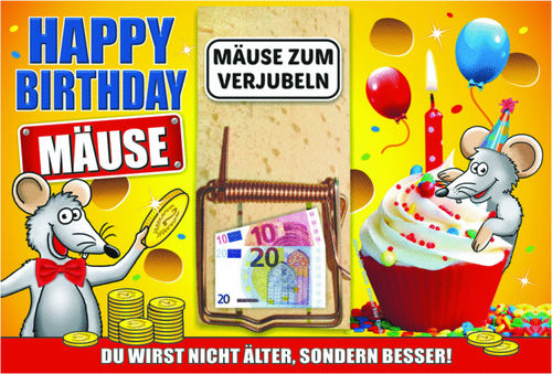 "Mausefallen-Karte ""Happy Birthday"""