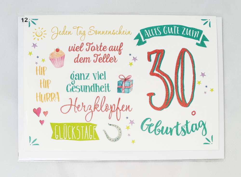 Glückwunschkarte 30. Geburtstag Grußkarte zum Geburtstag