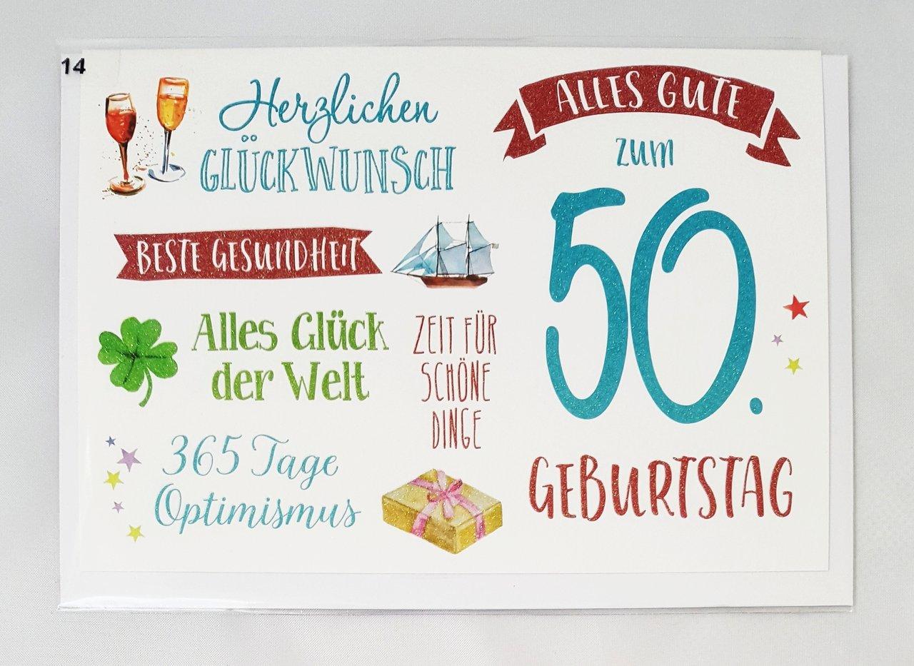 Glückwunschkarte 50. Geburtstag Grußkarte zum Geburtstag