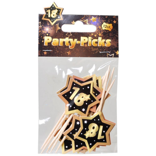 "Party-Picks ""18"" schwarz-gold"